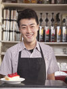 Portrait of barista serving cheesecake Stock Images