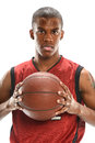 Portrait of basketball player african american isolated over white background Stock Photography