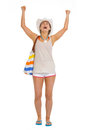 Portrait of beach young woman rejoicing success full length Stock Photo