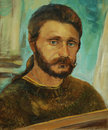 Portrait of the bearded man of artist oil on a canvas painting illustration Royalty Free Stock Images