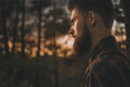 Portrait of bearded man confidently looking forward Royalty Free Stock Photo