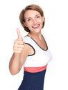 Portrait of a beautiful adult happy woman with thumbs up sign isolated on white background Royalty Free Stock Photography