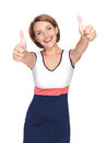 Portrait of a beautiful adult happy woman with thumbs up sign isolated on white background Royalty Free Stock Image