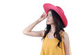 Portrait beautiful asian girl catch hat Royalty Free Stock Images