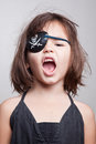 Portrait of beautiful asian girl Little pirate girl Royalty Free Stock Photo