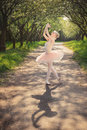 Portrait of beautiful ballerina with romantic and tender emotion