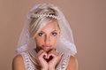 Portrait of beautiful blonde bride Stock Photos