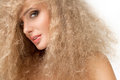 Portrait of beautiful blonde woman healthy long blond hair Stock Photo