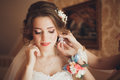 Portrait of beautiful bride with fashion veil and dress at wedding morning Royalty Free Stock Photo