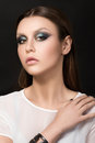 Portrait of beautiful brunet woman with fashion make up Stock Photos