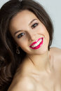 Portrait of beautiful brunet woman smiling Royalty Free Stock Images