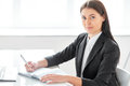 Portrait of beautiful business woman with documents in the Royalty Free Stock Photo