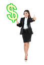 Portrait of beautiful business woman holding a us dollar symbol full lenght and thumbs up Royalty Free Stock Photos