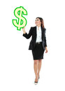 Portrait of beautiful business woman holding a us dollar symbol over white background Stock Photography