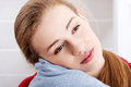 Portrait of beautiful caucasian bare woman head and shoulders with pillow Royalty Free Stock Photography