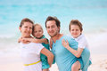 Portrait beautiful caucasian family tropical beach Royalty Free Stock Image