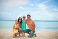 Portrait of a beautiful caucasian family on tropical vacation this image has attached release Stock Photo
