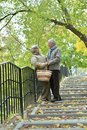 Portrait of beautiful caucasian senior couple walking