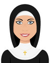 Portrait of a beautiful caucasian woman smiling dressed as a christian nun gray eyes and a necklace with cross isolated on white Stock Images