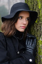 Portrait of beautiful elegant girl in nature on misty autumn day Royalty Free Stock Photo