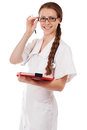 Portrait of a beautiful elegant successful doctor in white uniform Stock Photos