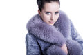 Portrait of beautiful face and impressive eyes brunette woman smiling wearing luxury warm winter fur mink coat shot in studio Stock Image