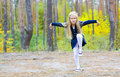 Portrait of the beautiful five year old girl dancing outdoors Royalty Free Stock Images
