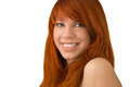 Portrait of beautiful ginger haired woman with full sensuous lip lips isolated on white Royalty Free Stock Image