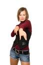 Portrait beautiful girl black vest denim shorts Royalty Free Stock Photo