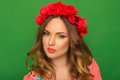 Portrait of beautiful girl with bright up make up and with flowe flowers in her hair on green background Royalty Free Stock Photography