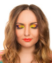 Portrait of beautiful girl with bright up make up on a white background Stock Photography