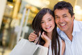 Portrait beautiful girl father smiling mall Royalty Free Stock Photos