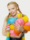 Portrait of beautiful girl holding colorful yarn Stock Photography