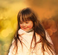 Portrait of beautiful girl little outside Royalty Free Stock Photos