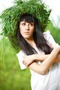 Portrait of a beautiful girl outdoor photo ancient slav feast ivana kupala Royalty Free Stock Photo