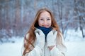 Portrait of beautiful girl in park winter Royalty Free Stock Photography