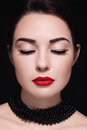 Portrait of beautiful girl with red lipstick and fancy eyelashes Royalty Free Stock Photos