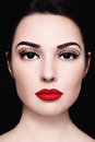 Portrait of beautiful girl with red lipstick and fancy false eyelashes Stock Images
