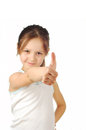 Portrait of a beautiful girl showing thumbs up isolated Royalty Free Stock Photos