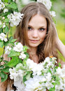 Portrait of a beautiful girl in spring Stock Photo