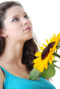 Portrait of a Beautiful girl with sunflower Royalty Free Stock Photo