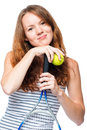 Portrait of a beautiful girl with a tennis racket on a white Royalty Free Stock Photo
