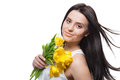 Portrait of beautiful girl with tulips Royalty Free Stock Photo