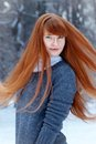 Portrait of beautiful girl in winter park happy Royalty Free Stock Image
