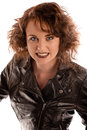 Portrait of a beautiful gothic woman in black leather jacket studio Royalty Free Stock Photography