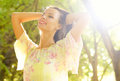 Portrait of beautiful happy smiling girl in summer nature Royalty Free Stock Photo