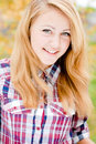 Portrait beautiful happy smiling young blonde woman outdoors Royalty Free Stock Photography