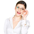 Portrait of the beautiful happy woman in glasses young and white office shirt isolated on white background Royalty Free Stock Photos