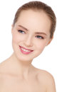 Portrait beautiful healthy smiling teen girl clear make up white background Stock Images
