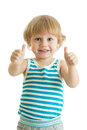 Portrait of beautiful kid boy giving you thumbs up isolated on white background Royalty Free Stock Photo